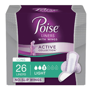 PoiseActive Collection Light Absorbancy Incontinence Liners with Wings