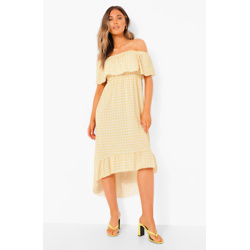 Gingham Print Bardot Maxi Dress