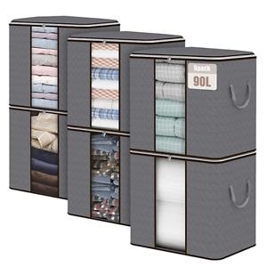 Fixwal 90升超大容量防尘被褥衣物收纳整理包 6个装