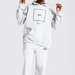 Oversized Offcl Box Print Hooded Tracksuit