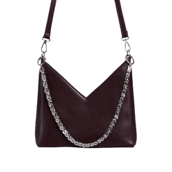 TWILLA CHAIN DETAIL SHAPED CROSS BODY BAG IN DARK BROWN FAUX LEATHER