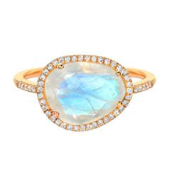 钻石月光石戒指