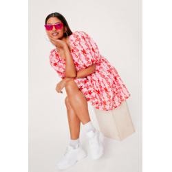Puff Sleeve Floral Print Smock Mini Dress