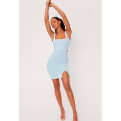 Square Neck Slit Mini Dress
