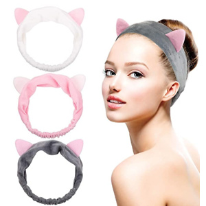 Dreamlover Makeup Headband, Cat Ear Hairlace, Spa Cosmetic Headwraps, 3 Pack