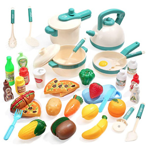 CUTE STONE 40PCS Kids Kitchen Pretend Play Toys,Play Cooking Set with Pots and Pans