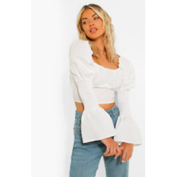 Cotton Puff Sleeve Gathered Bust Crop Top
