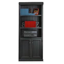 Black and Oak Two Door Bookcase