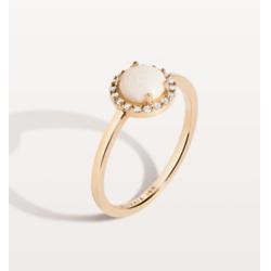 光环钻石蛋白石戒指