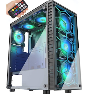 MUSETEX Phantom Black ATX Mid-Tower Case with USB 3.0 and 6 ×120mm ARGB Fans