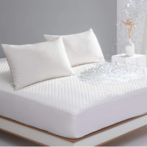 King Size Waterproof Mattress Protector Bamboo Cooling Fitted Mattress Pad Cover with Deep Pocket Up to 18''