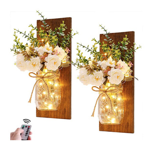 Handmade Wall Art Hanging Design with Remote Control LED Fairy Lights and White Peony