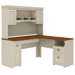L Shaped Desk with Hutch in Antique White