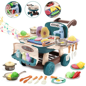 CUTE STONE Play Kitchen Mini Shopping Cart Toy with Music and Light