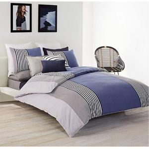 Lacoste Meribel Cotton Bedding Set, Twin/TwinXL Comforter, Blue/White