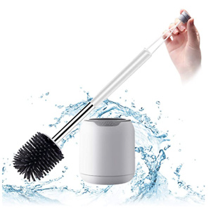 BOOMJOY Toilet Brush, Wall Mounted Toilet Bowl Brush with Holder for Bathroom, Soft Silicone Bristle, 1Pack