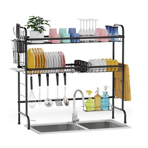 GSlife Stainless Steel 2 Tier Dish Rack Above Kitchen Sink Shelf Durable Dish Drainer