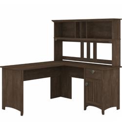 Bush Furniture Salinas 60W L Shaped Desk with Hutch in Ash Brown