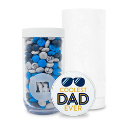 PERSONALIZABLE M&M'S COOLEST DAD EVER GIFT JAR IN WHITE GIFT TUBE