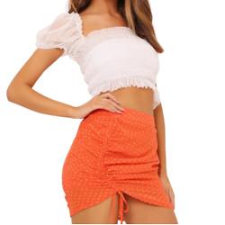 橙色皱折迷你裙