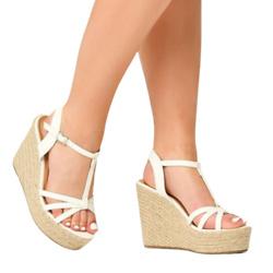 白色坡跟鞋
