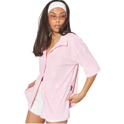 playboy x missguided pink bunny repeat towelling shirt