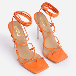 SUNBATHE SQUARE TOE LACE UP CLEAR PERSPEX HEEL IN ORANGE FAUX LEATHER