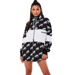 playboy x missguided black repeat print zip through oversized sweater dress