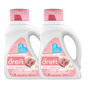 Dreft Stage 1: Newborn Hypoallergenic Liquid Baby Laundry Detergent (Pack of 2)