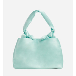 SWEETIE KNOTTED DETAIL SHOULDER BAG IN GREEN SATIN