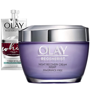 Olay Regenerist Night Recovery Cream Whip Face Moisturizer, Fragrance Free, 1.7 Oz, Travel/Trial Size Gift Set