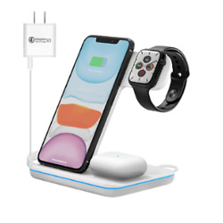 Wireless Charging Station 3-in-1 Qi-Certified 15W Wireless Charger Stand Compatible for Apple Watch SE/6/5/4/3/2/1 Airpods Pro/2 iPhone SE II/11/11 Pro/Pro Max/XS Max/XS/XR/X/8/Plus/8