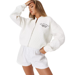 playboy x missguided white lifestyle quilted bomber jacket