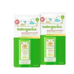 Babyganics SPF 50 Travel Size Baby Sunscreen Stick UVA UVB Protection | Water Resistant |Non Allergenic, 2 Pack