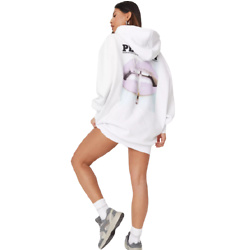 playboy x missguided white magazine print oversized hoodie dress
