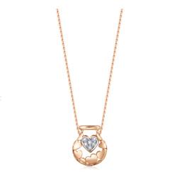 18K 白金&红金钻石项链