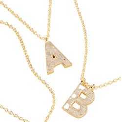 Deco Diamond Monogram Pendant Necklace