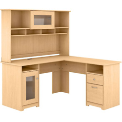 60W L Shaped Computer Desk with Hutch in Natural Maple