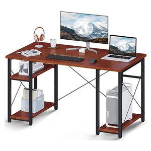"""ODK Computer Desk with Shelves, 47"""" Multifunctional Shelves Desk, Stable Writing Table for Home Office, Teak"""