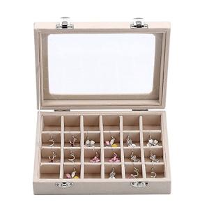 YFLY Velvet Glass Jewelry Ring Earring Display Organizer Box Tray