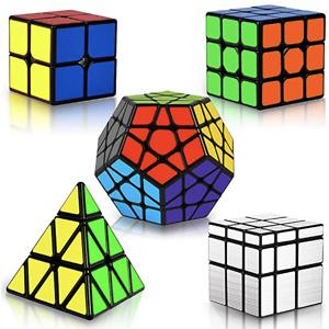 Coolzon Cube Set Magic Speed Cube Bundle 2x2 3x3 Pyraminx Pyramid Megaminx Mirror Cube