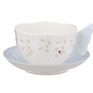 Lenox Butterfly Meadow Figural Cup and Saucer Set, Blue
