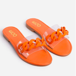 YOU SHINE PERSPEX STRAP CHAIN DETAIL FLAT SLIDER SANDAL IN ORANGE FAUX LEATHER