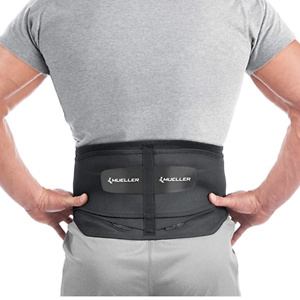 Mueller 255 Lumbar Support Back Brace with Removable Pad, Black