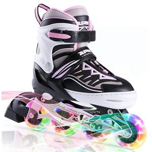 2PM SPORTS Cytia Pink Girls Adjustable Illuminating Inline Skates with Light up Wheels