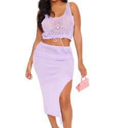 淡紫色侧开衩半身裙