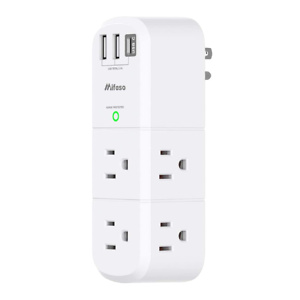 USB Outlet Extender Surge Protector - with Rotating Plug