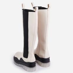 白色透明厚底长靴