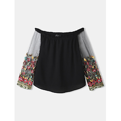 Flower Embroidered Lace Patchwork Off Shoulder Plus Size Sexy T-Shirt