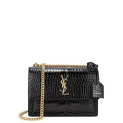 Sunset crocodile-effect leather shoulder bag